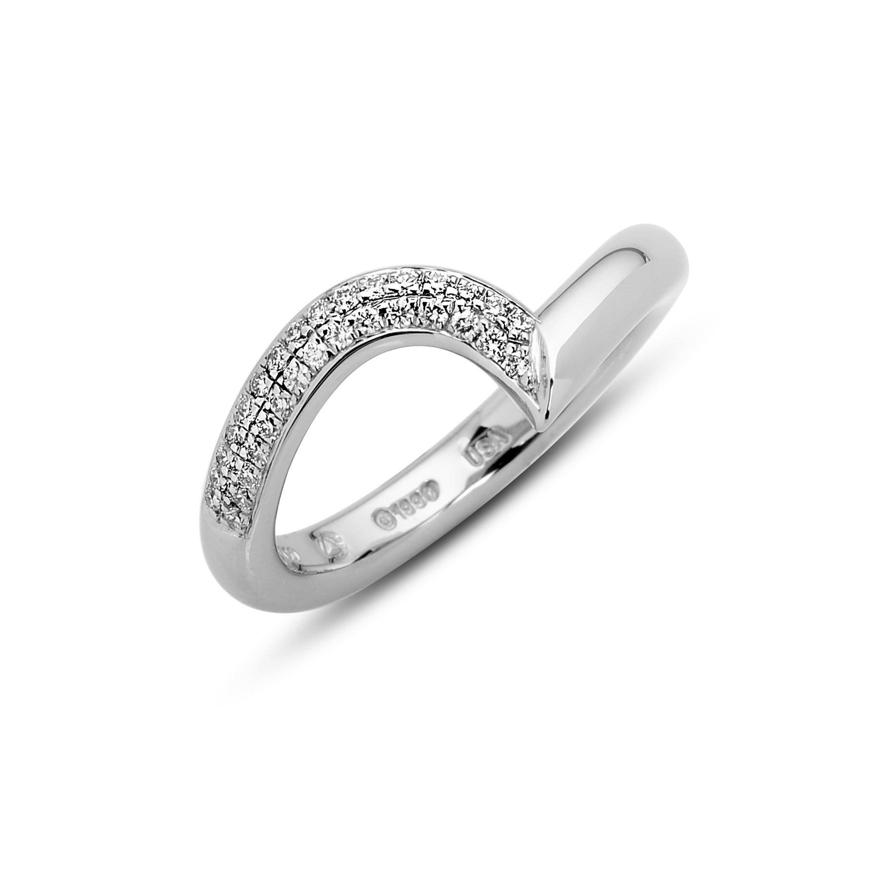 Swirl and Wing Band With 2 Rows of Pave Steven Kretchmer