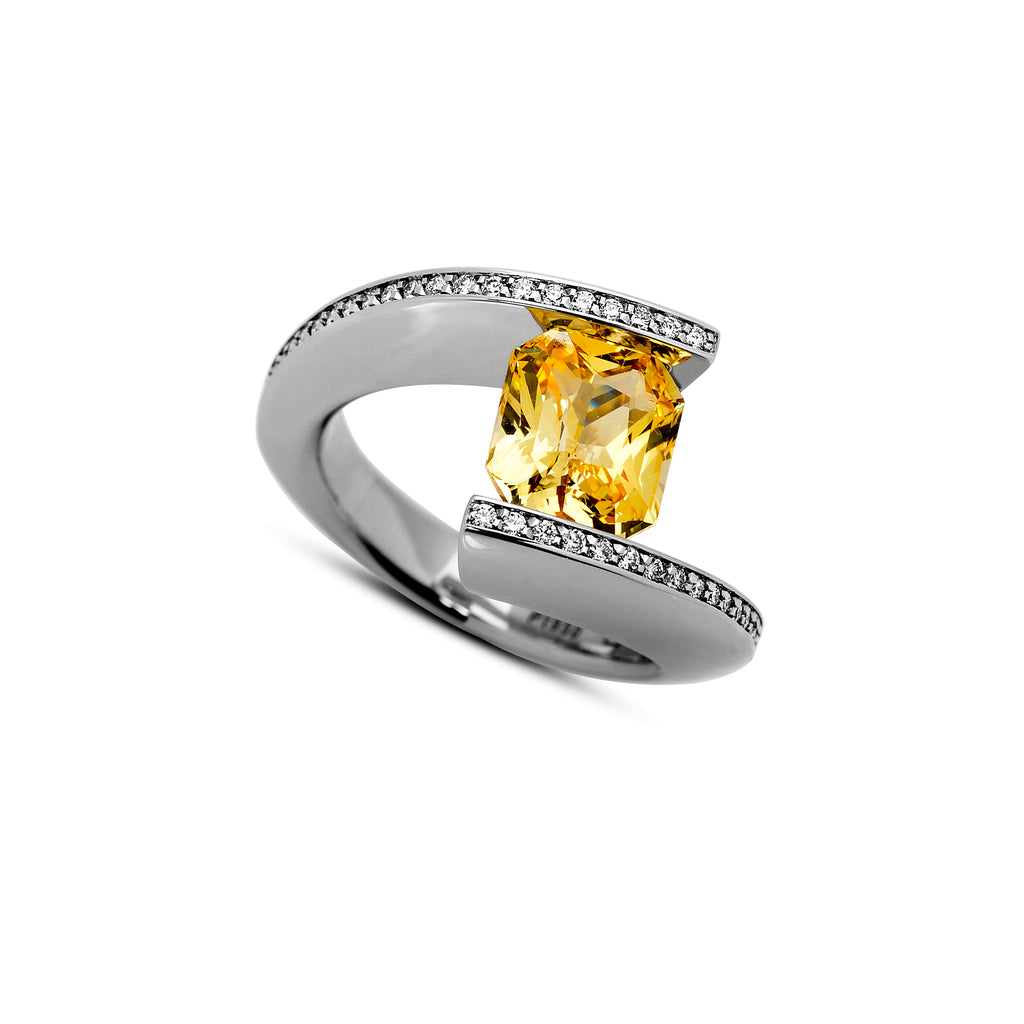 TWH with Two Rows of Pave and a Tension-Set Yellow Sapphire