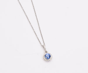 Blue Sapphire Diamond Halo Pendant in gold