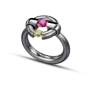 Two-Stone Jazz Ring with Pink Sapphire and Yellow Diamond