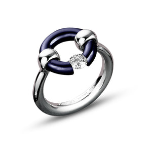 Midnight Blue Round-Top Jazz Ring with Diamond