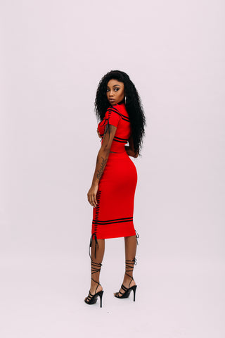 "'Free Throw"" Ribbed Lace Up Midi Skirt"