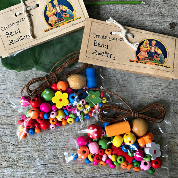 Little DIY kit of wooden beads for jewellery making at Tribe Castlemaine
