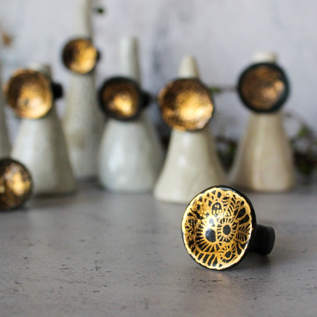 Large Porcelain Rings Black & Gold
