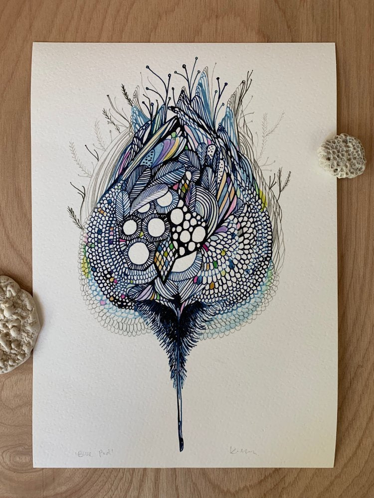 'Blue Pod' Print by Katherine Wheeler