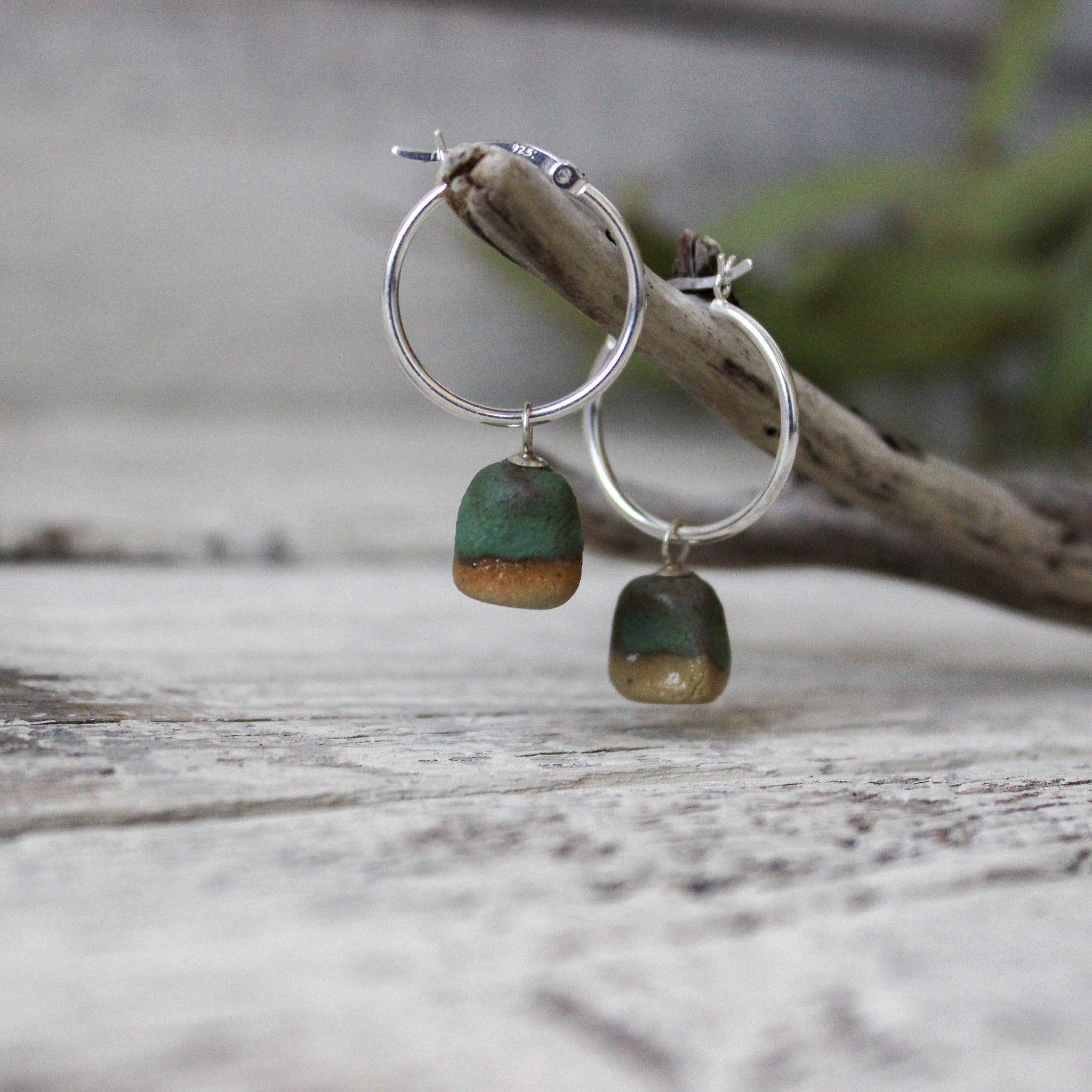 Jadeite Rough Stone Hoop Earrings