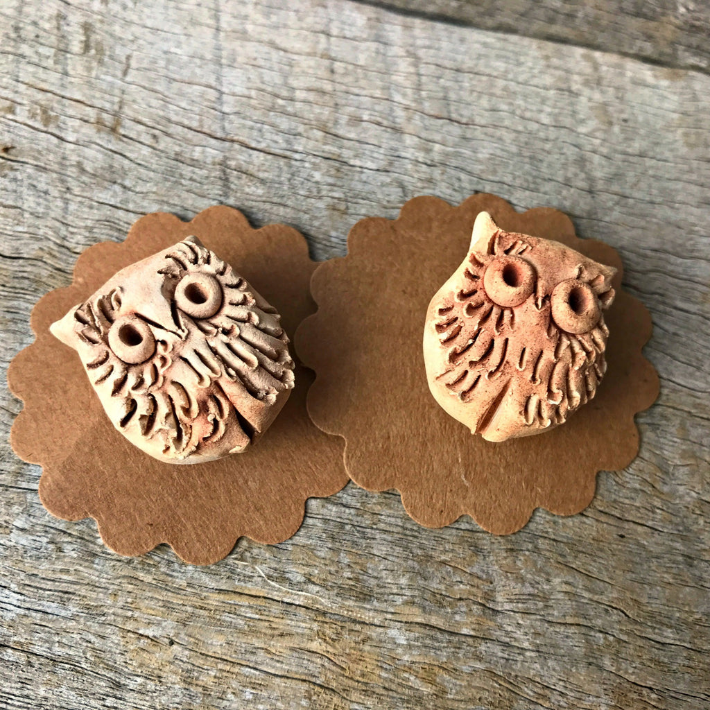 Cute little ceramic owl badges handmade in Castlemaine available at Tribe Castlemaine
