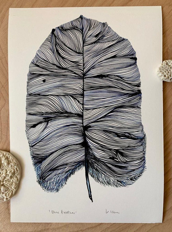 'Blue Feather' Print by Katherine Wheeler