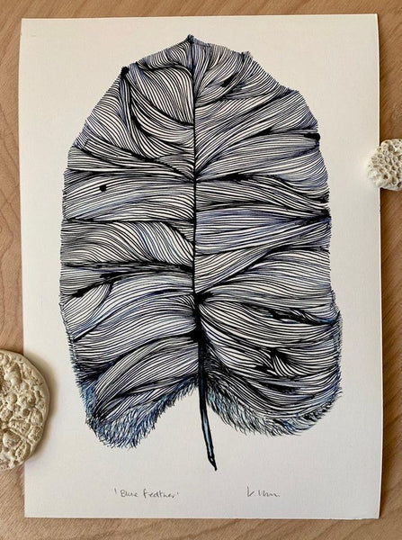 Blue Feather Print by Katherine Wheeler