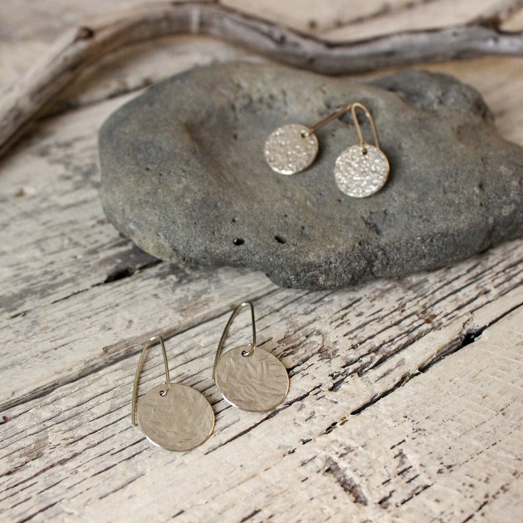 Silver Textured Earrings : 2 designs