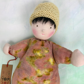Handcrafted Steiner Waldorf doll botanically printed