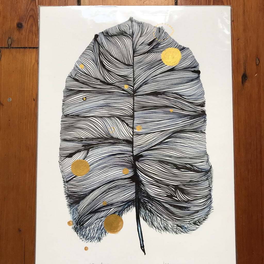 Blue Feather with handpainted gold detail Print by Katherine Wheeler