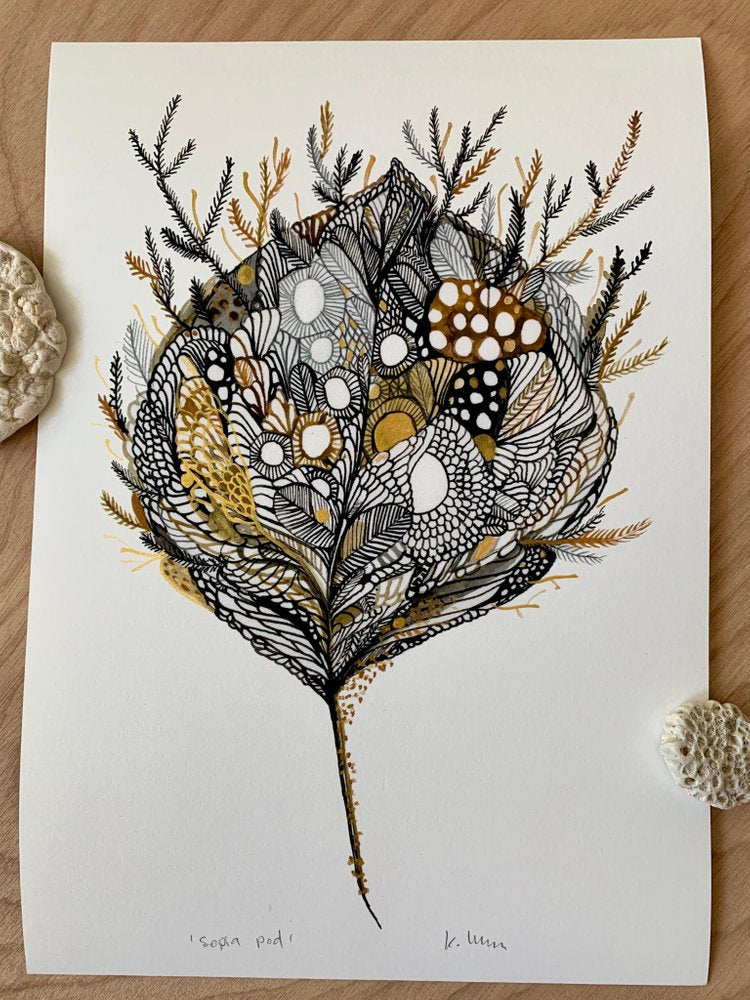 Sepia Pod  Print with handpainted gold detail by Katherine Wheeler