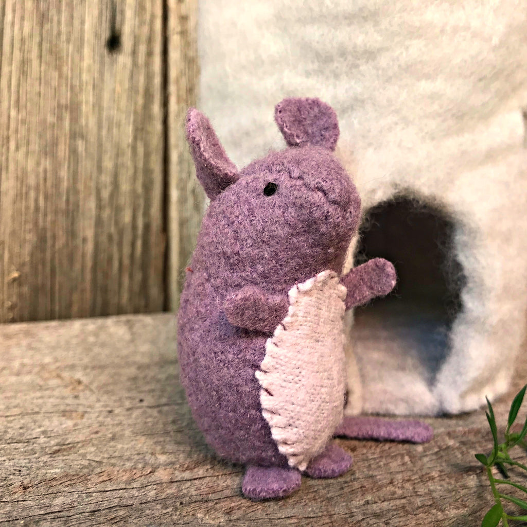 Miniature softie mouse, hand-stitched from upcycled natural fibres from a pattern by Ann Wood Handmade, by Elfin Trail, available at Tribe Castlemaine