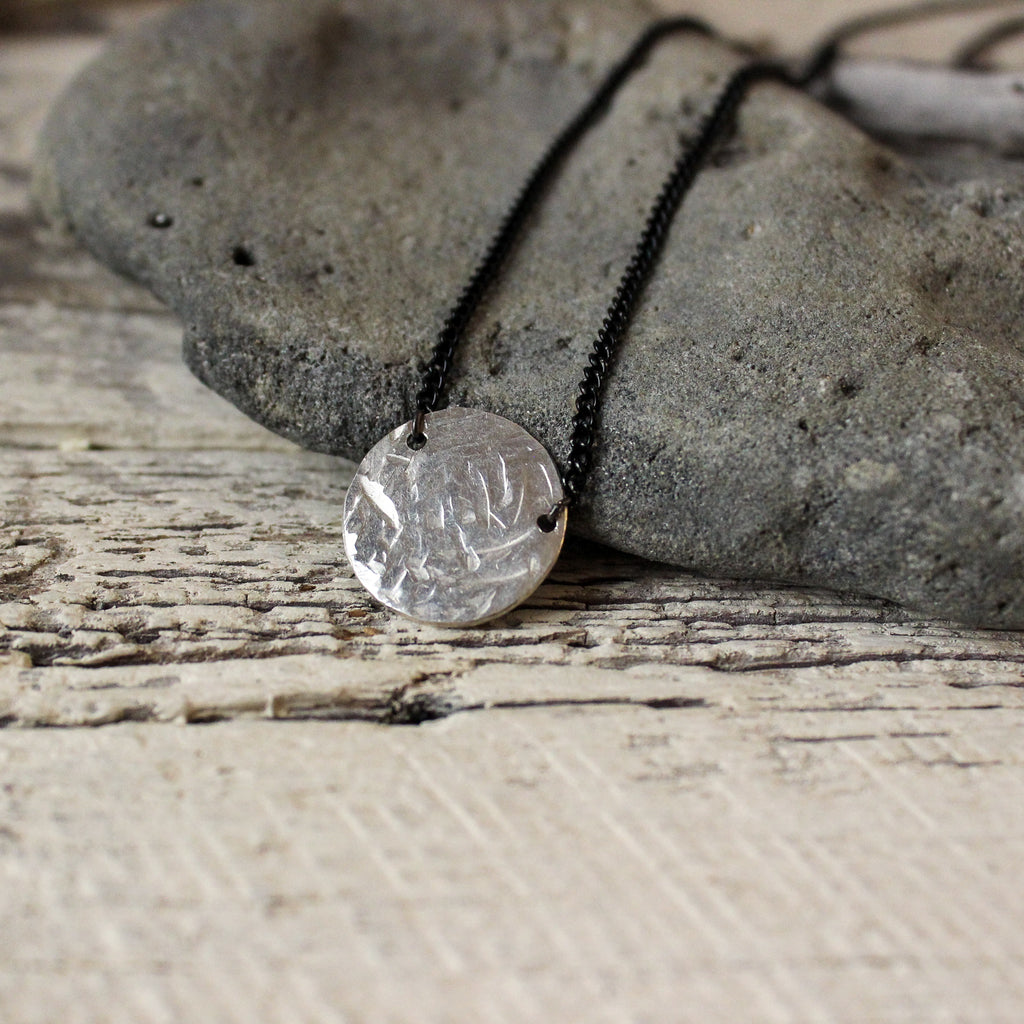 Silver Textured Necklace