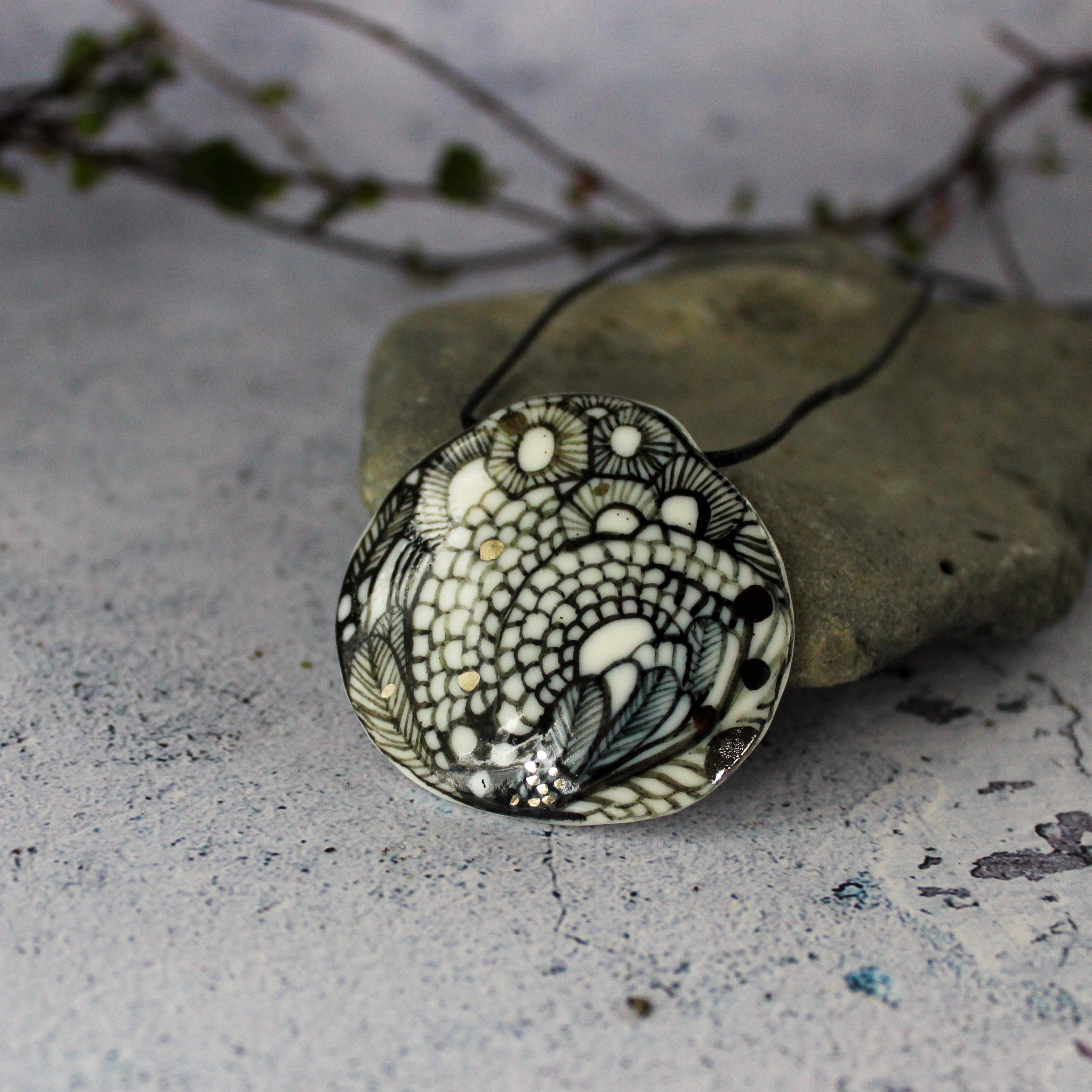 Hand Painted Ceramic Necklace #2