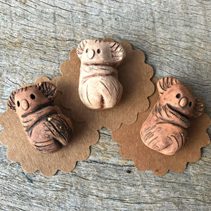 Cute little ceramic koala badges, handmade in Castlemaine Australia at Tribe Castlemaine
