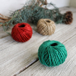 Small Jute Balls: Red, Green & Natural