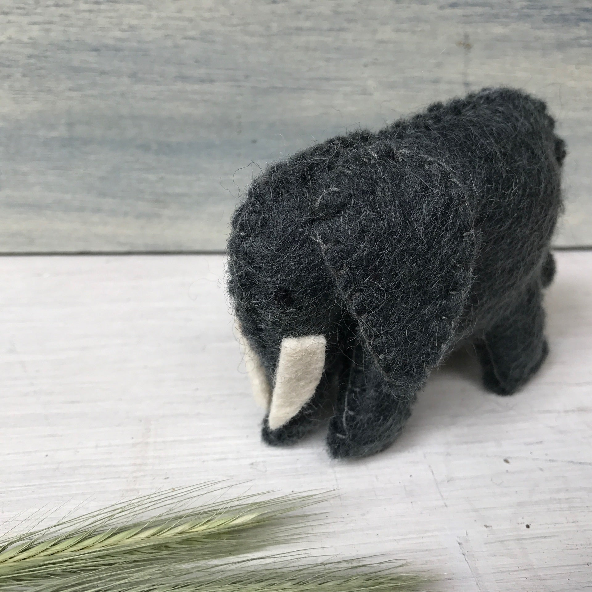 Cute little wool felt baby elephant, Steiner Waldorf inspired toys for imaginative play from Tribe Castlemaine