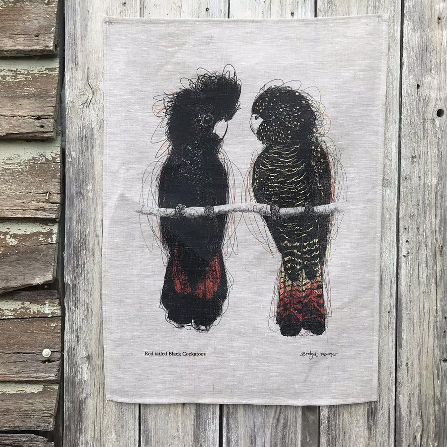 Linen Tea Towel : Red-tailed Black Cockatoos