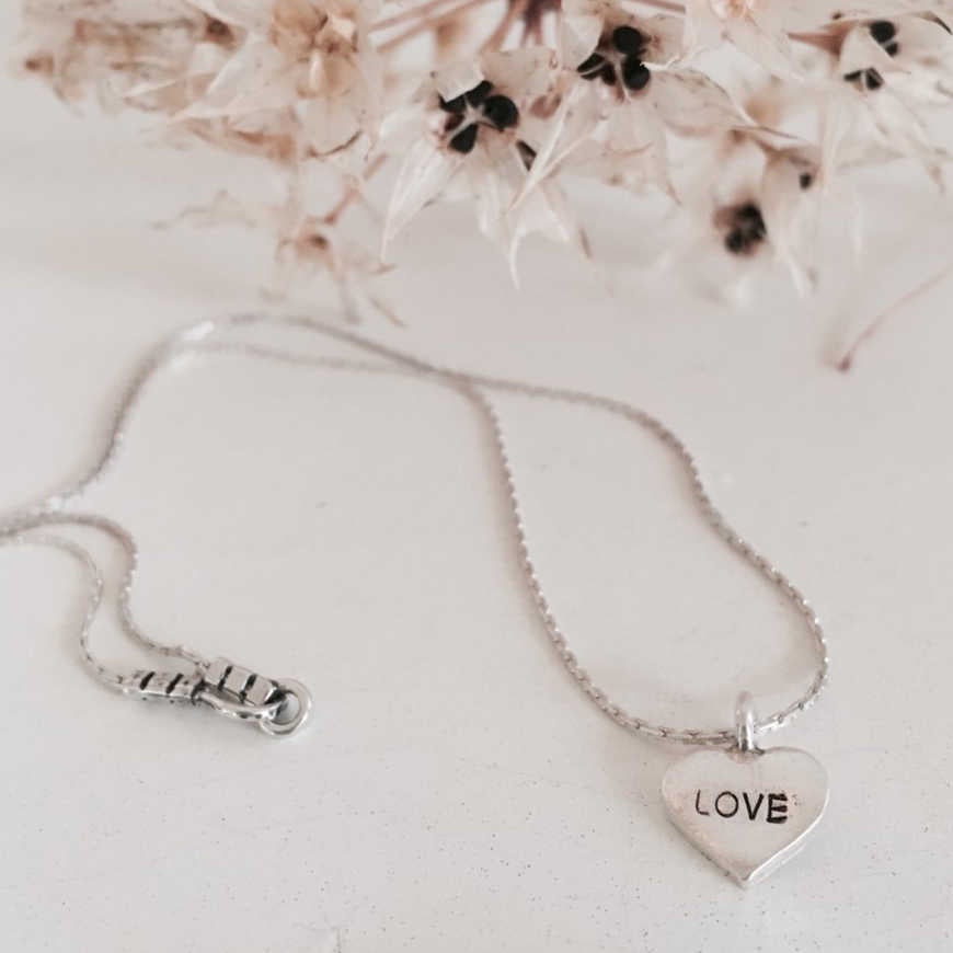 Silver Mini Pendant Necklace : Love
