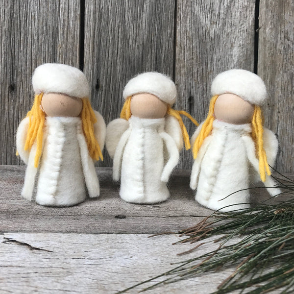 Sweet little elfin peg dolls perfect for imaginative play, Steiner Waldorf inspired toys, handmade all natural felt and wood, available at Tribe Castlemaine