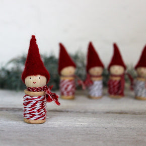 Cute little festive twine gnomes, handmade Christmas decoration, from Elfin Trail at Tribe Castlemaine