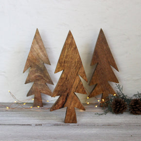 Wooden tree ornaments for Christmas by Fog Linen at Tribe Castlemaine