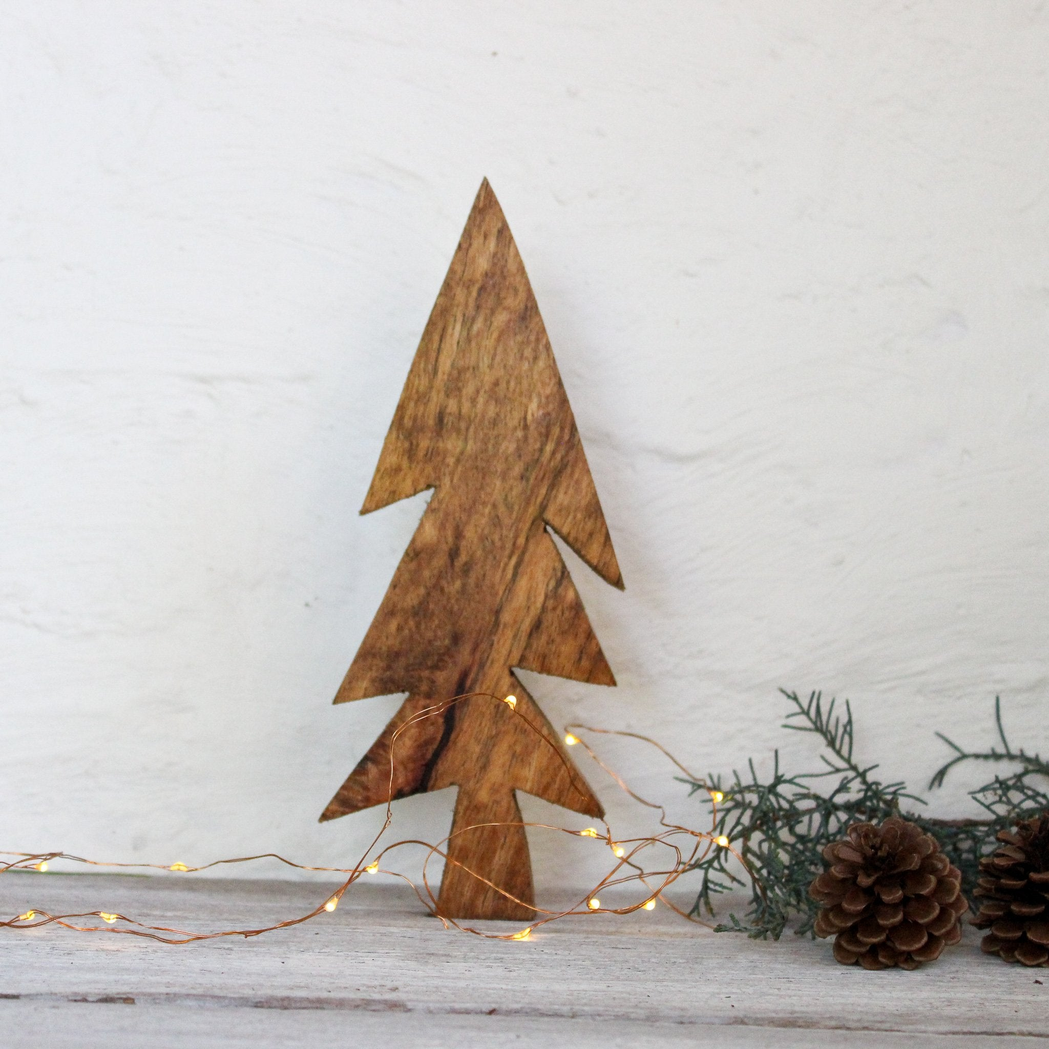 Wooden Christmas tree ornaments by Fog Linen at Tribe Castlemaine