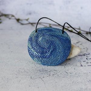 Ceramic Necklace Blue Coral Moon