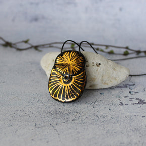 Black and Gold Ceramic Necklace #1