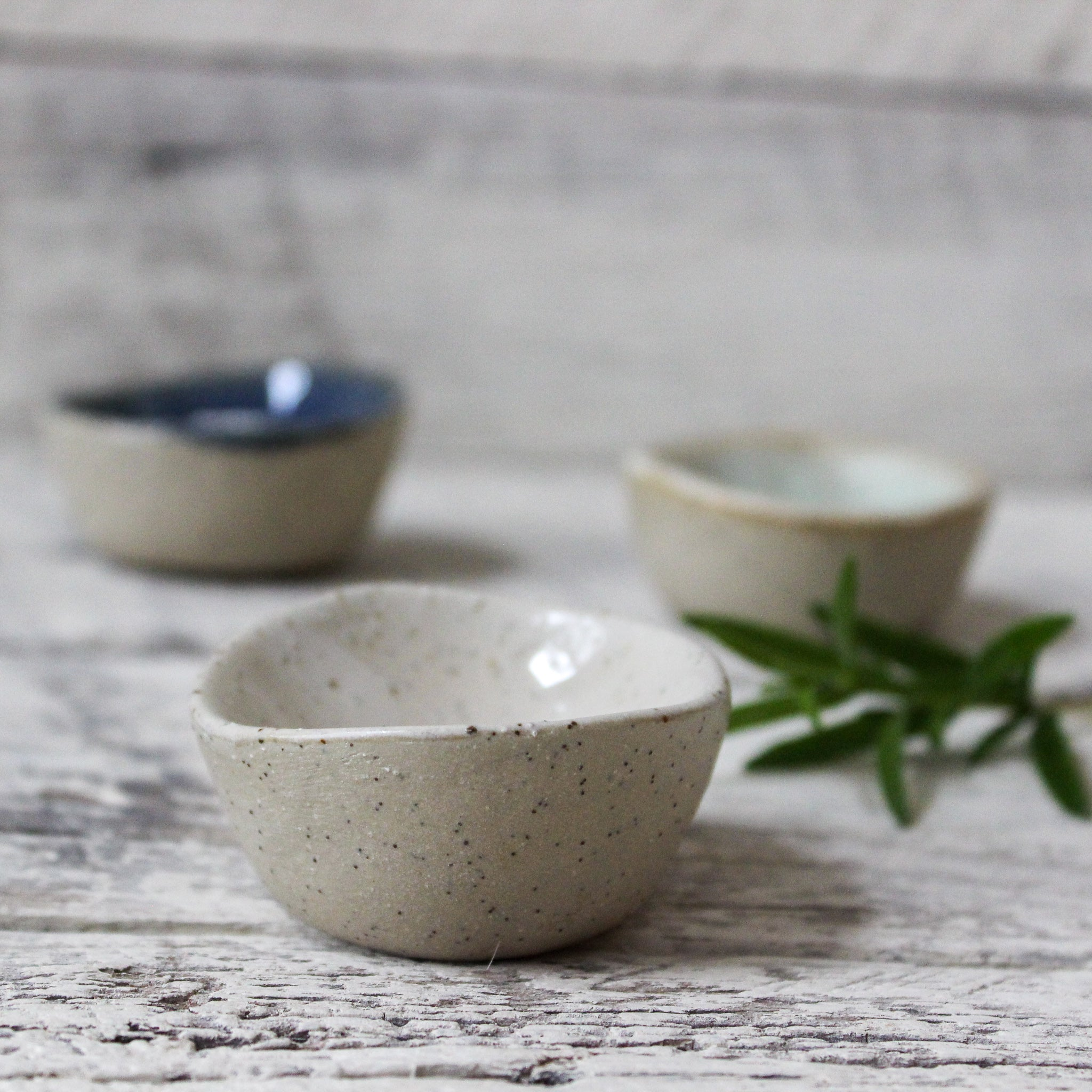 Stoneware pinch pots handmade by Woodfolk Natural Accessories