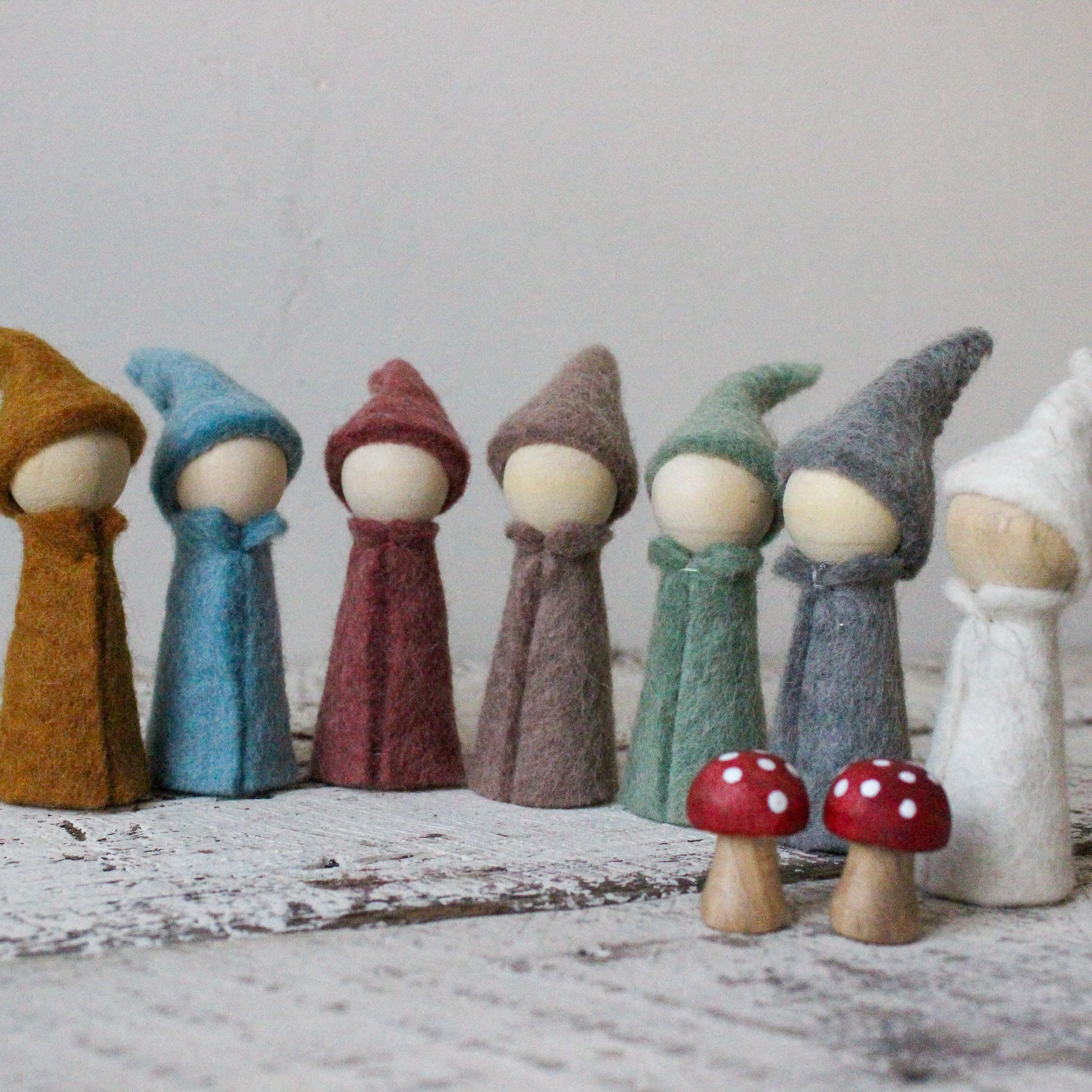 Felt and wood peg doll gnomes Steiner toys