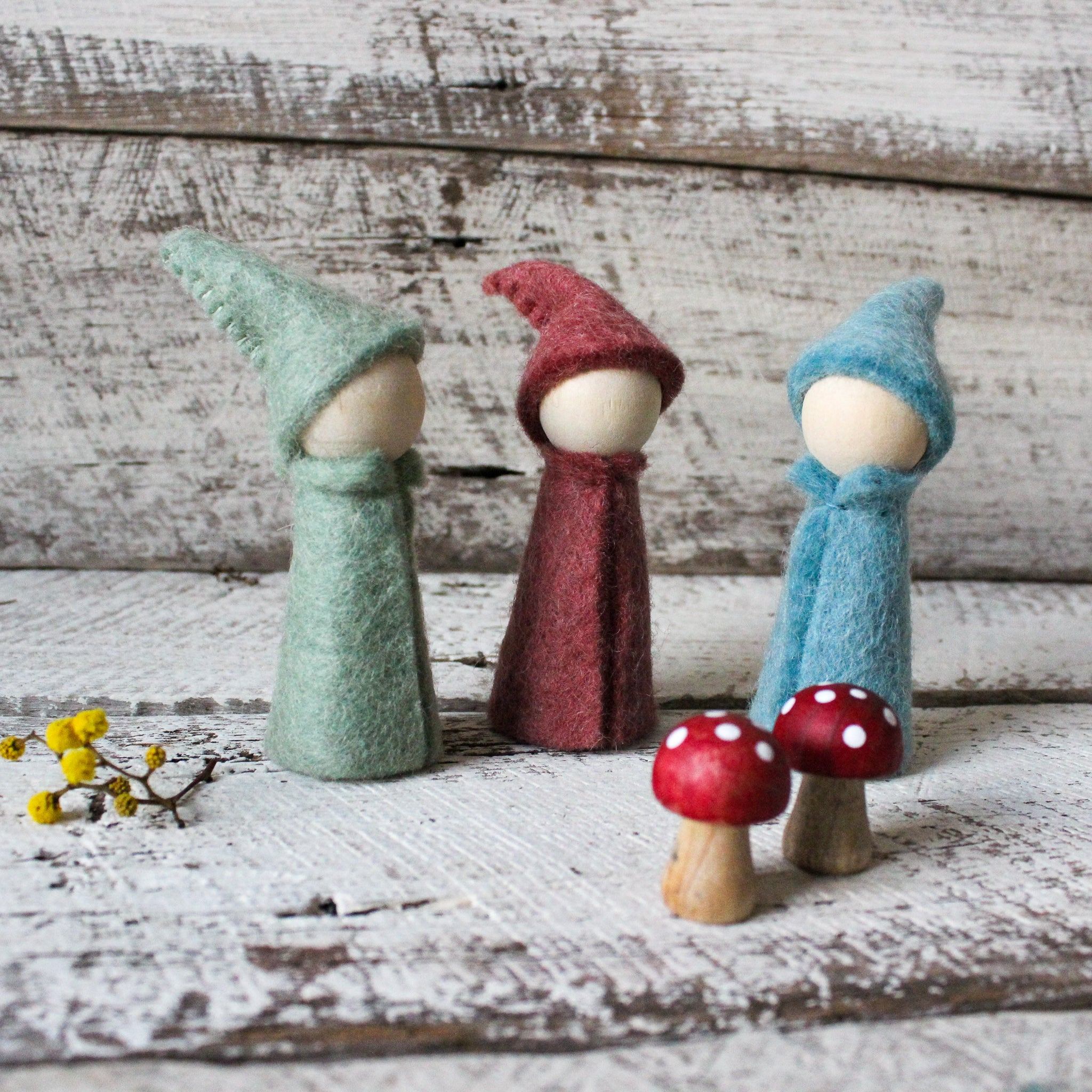 Little felt peg doll gnomes