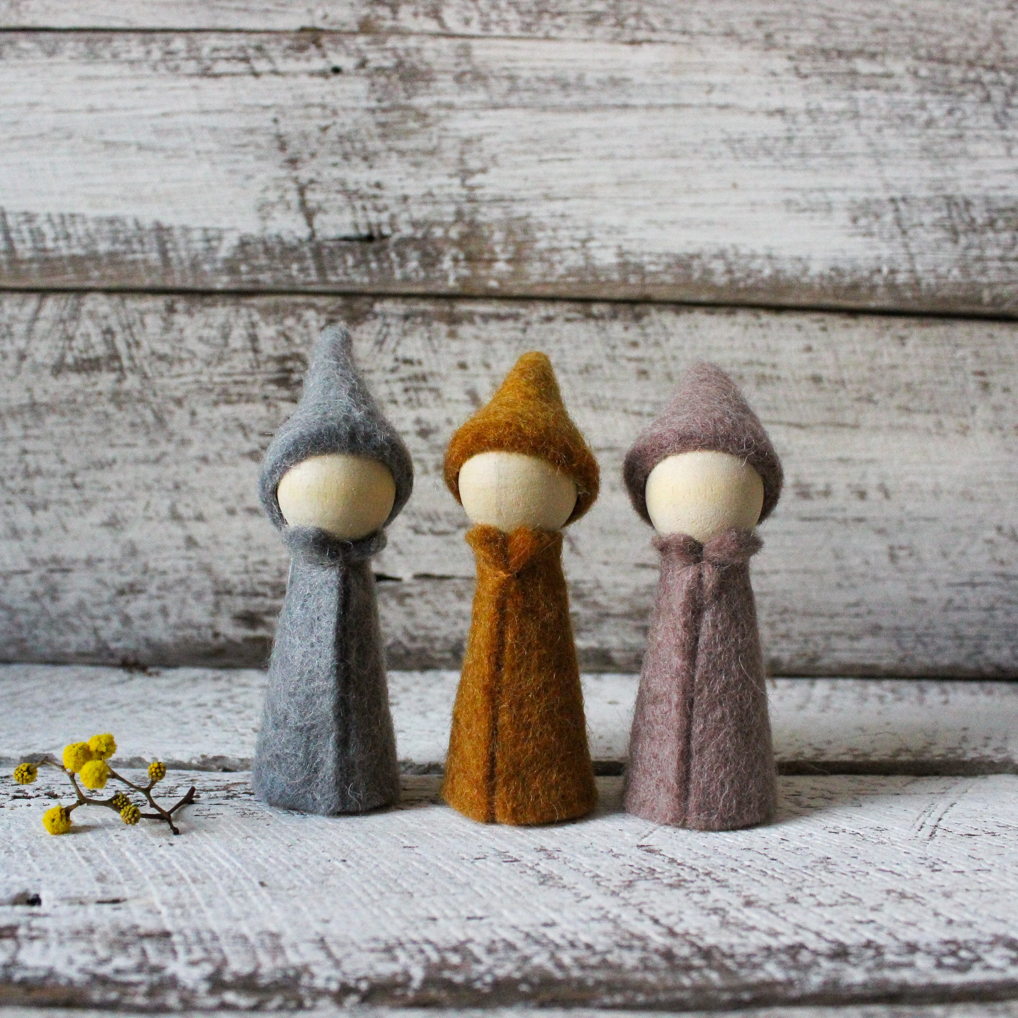 Felt wood peg doll gnomes Waldorf toys