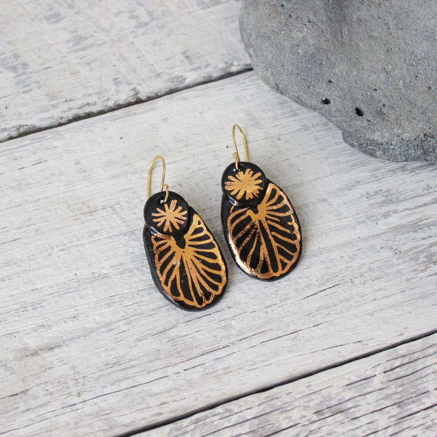 Ceramic Earrings Black & Gold Collection