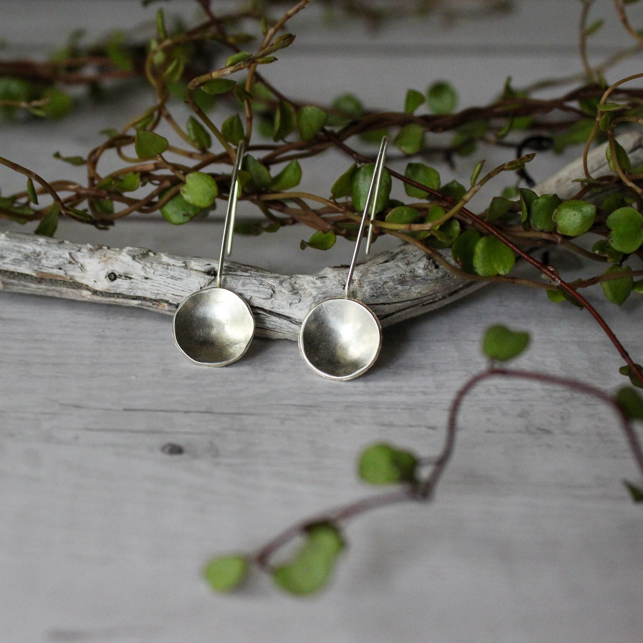Silver Concave Pendant Earrings