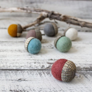 Large felt acorns for Waldorf nature tables