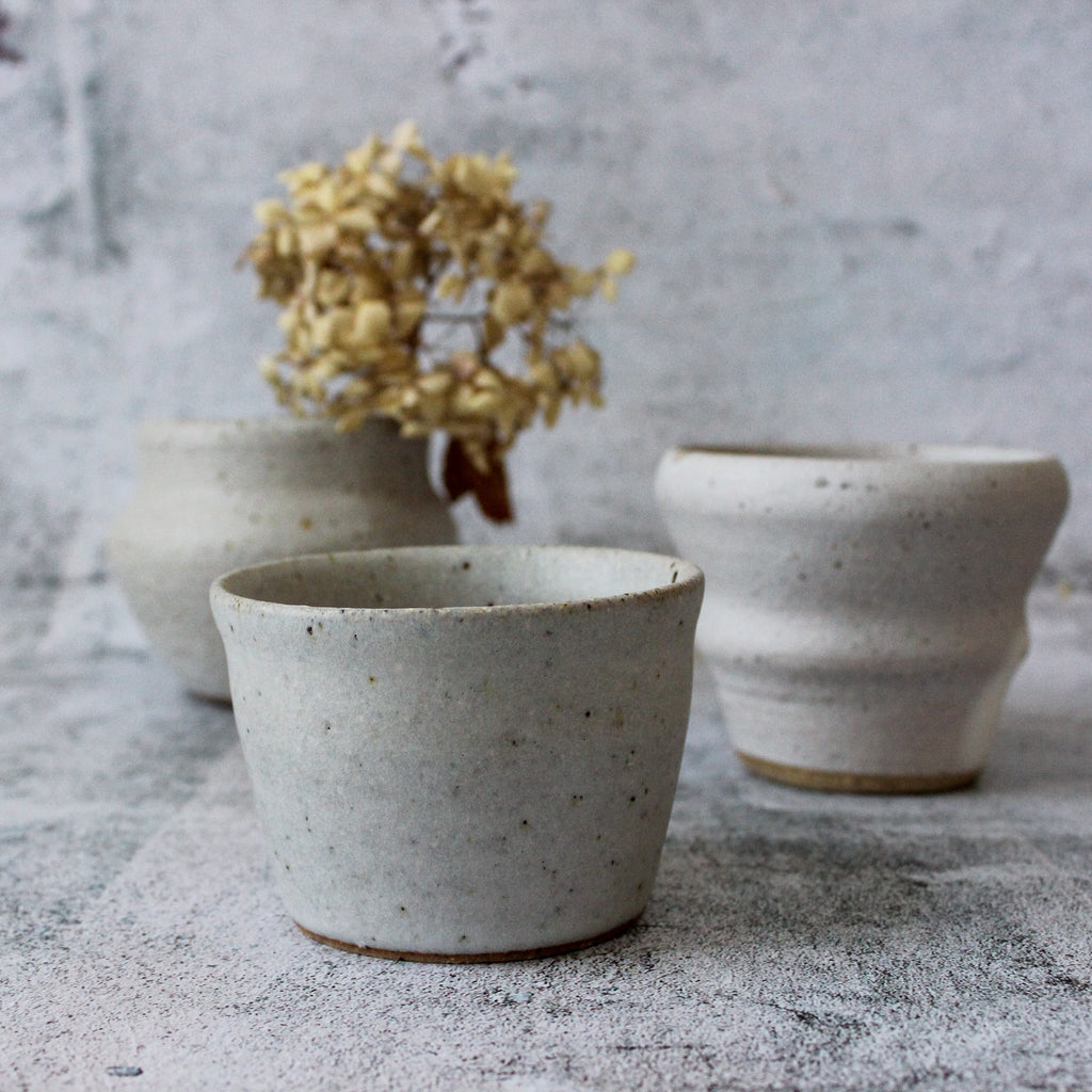 Stoneware vases with earthy white glaze handmade in Melbourne by RAW
