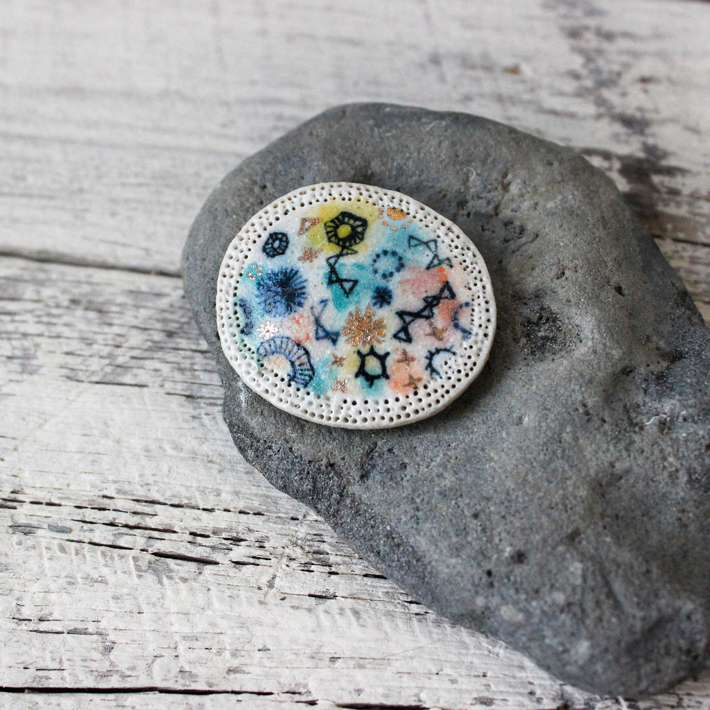 Stars & Cells Ceramic Brooch