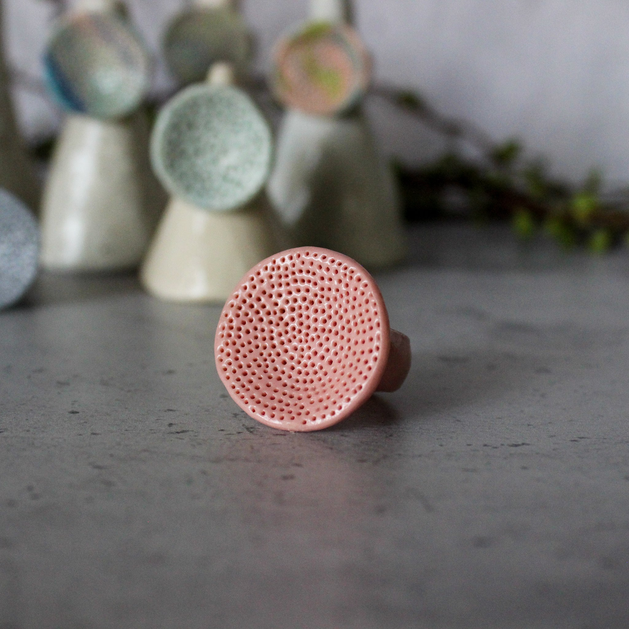 Large Round Coral Porcelain Rings  Pastel