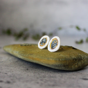 Porcelain Studs Painted Gold