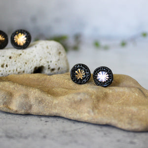 Porcelain Studs Black Gold Star