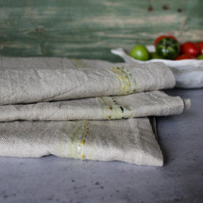 Linen Tea Towels Lemon Slow Stitch