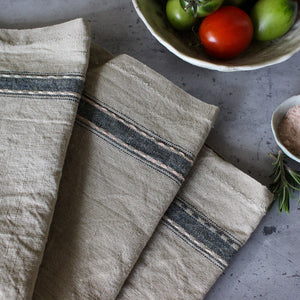 Linen Tea Towels Navy Slow Stitch