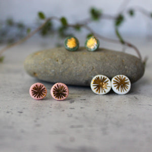 Porcelain Studs Gold Star