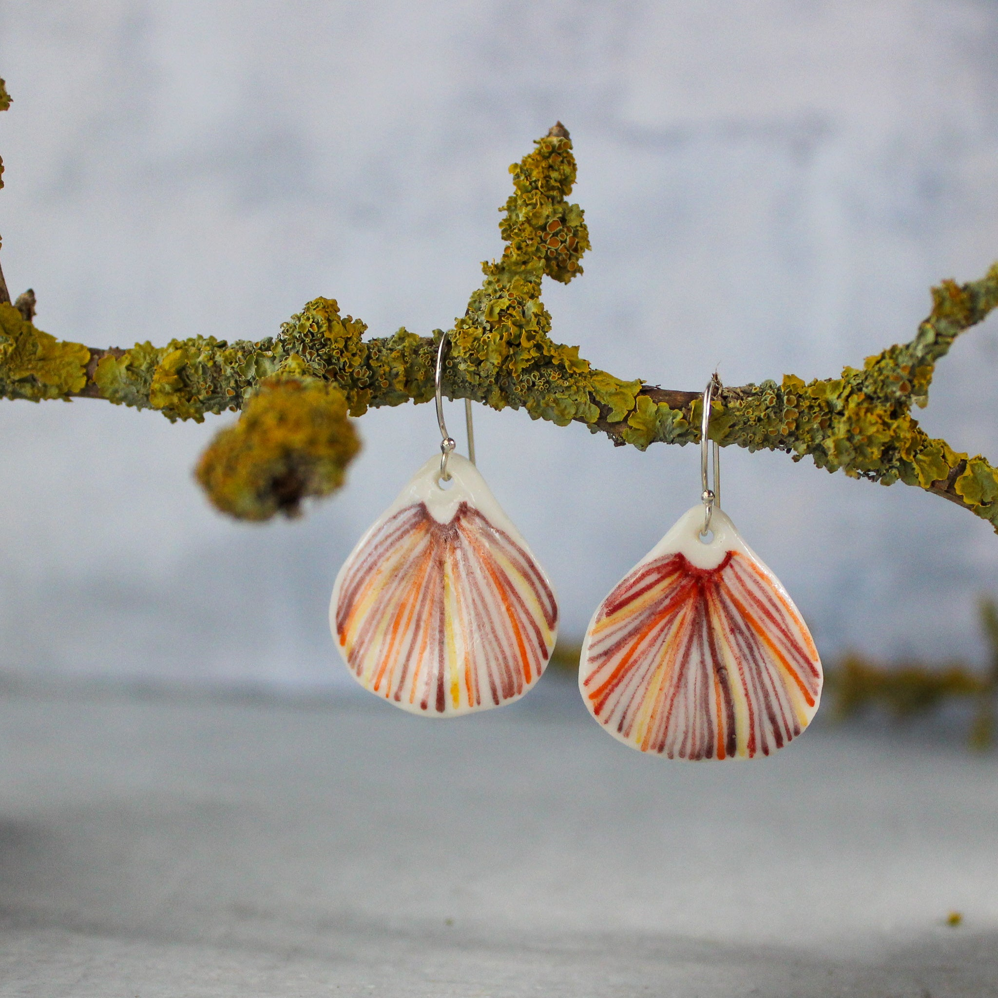 Ceramic Earrings Red Fungi