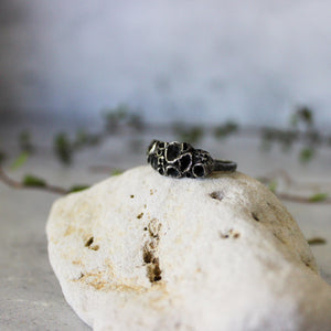 Oxidised Silver Rock Coral Ring