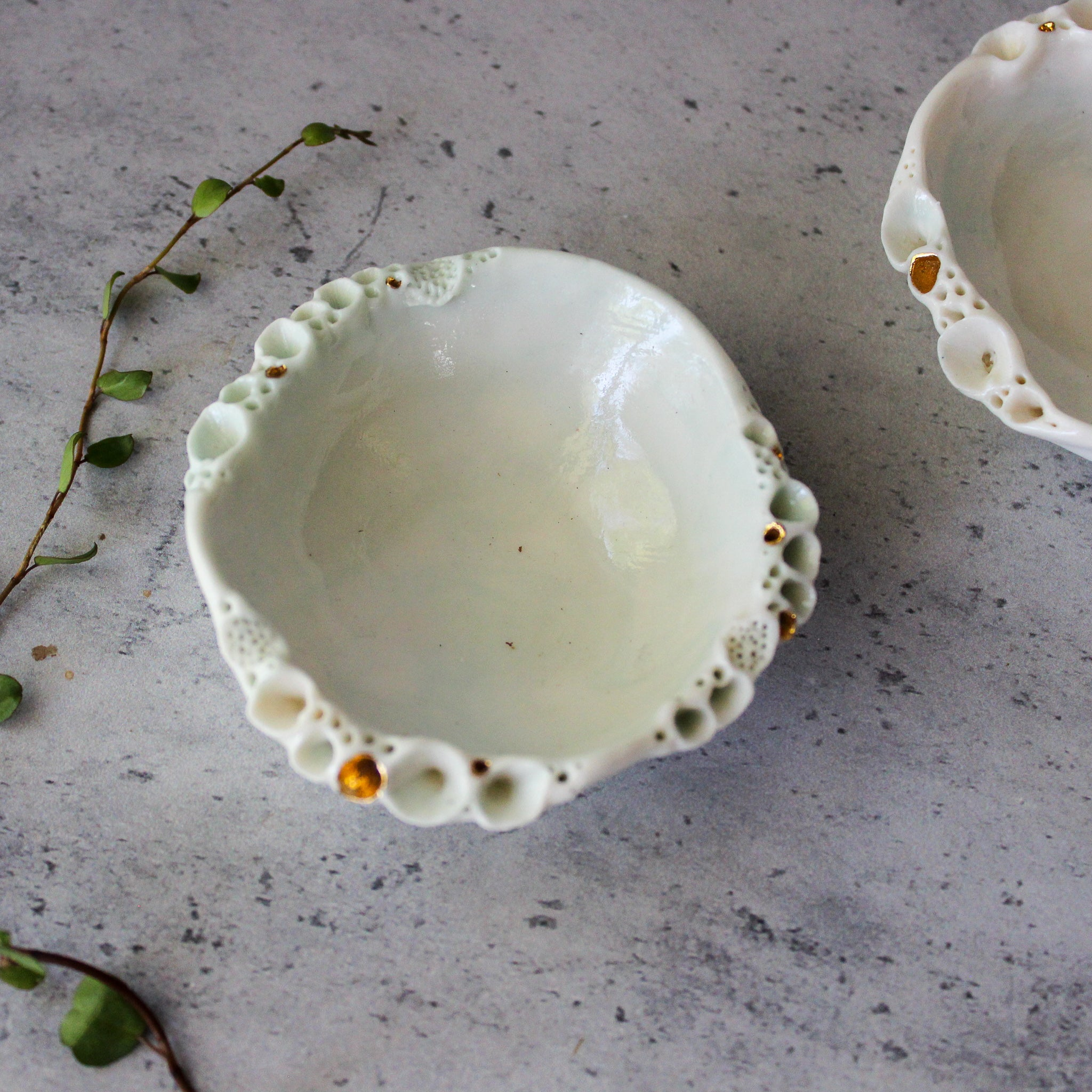 Rock Coral Dishes White/Green