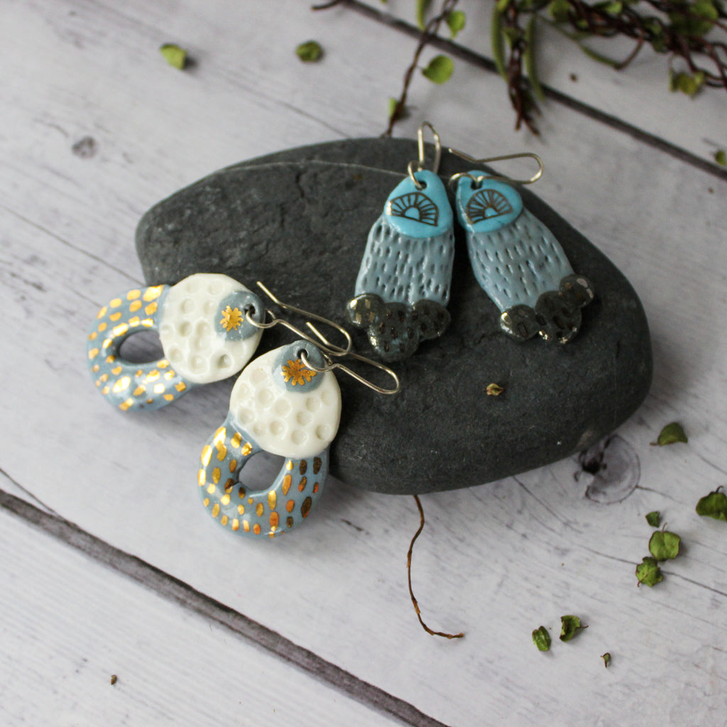 Ceramic Earrings Grey Layers